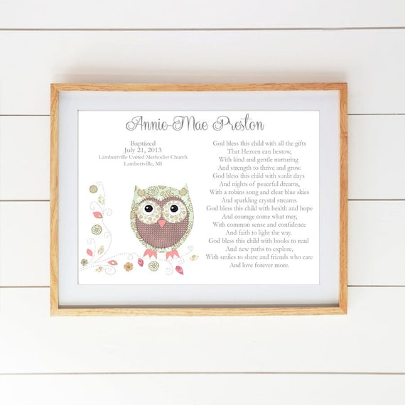 Baby Gifts For Christening Ideas : Baby girl baptism gift christening gifts for owl