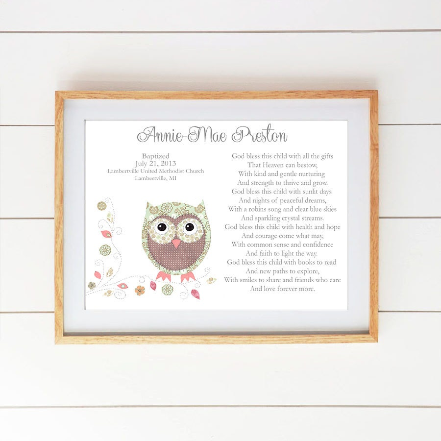 Baby girl baptism gift christening gifts for girl owl - Gifts for baby christening ideas ...