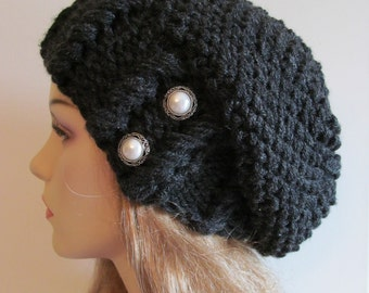 Black Heather Oversized Slouchy Beanie Slouch Hats Baggy Beret Pearl Buttons womens fall winter accessory Super Chunky Hand Made Knit