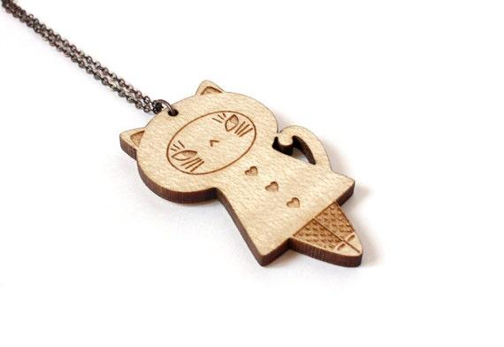Cat doll pendant - cat necklace - kitten jewelry - animal jewellery - matriochka - kokeshi - lasercut maple wood - kawaii accessory