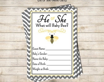 He or She Bumble Bee Baby Shower Game - Printable Instant Download