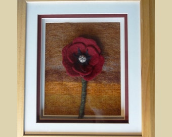 Needle felted Red Poppy - All Profits To Charity - Handmade felt from Merino Wool, fibre art, Cashmere wool background,