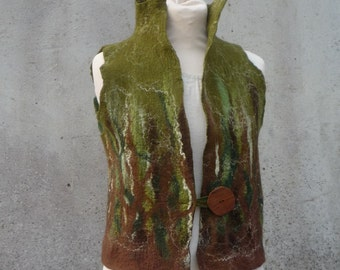 Hand felted ~ Woodland waistcoat ~ Vest  ~ Olive green and chocolate brown ~ Elfnfelt