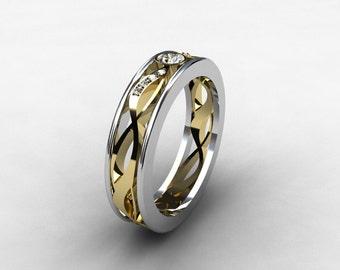 Diamond ring, filigree, wedding band, yellow gold, white gold, diamond wedding, lace ring, filigree wedding, diamond, two tone, bezel