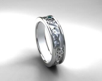 Wide teal diamond filigree ring, wedding band, white gold, yellow gold, mens wedding band, men filigree ring, diamond ring blue,  men teal