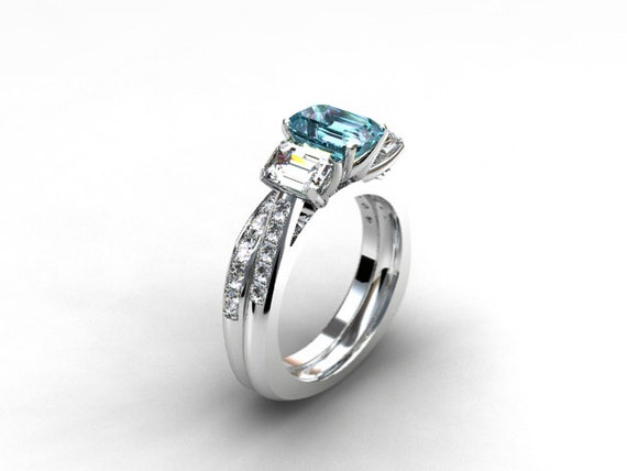 Engagement Ring Set Aquamarine Engagement Ring Emerald Cut