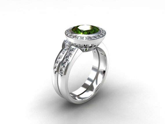 Peridot halo engagement ring set diamond ring white gold for Peridot wedding ring set