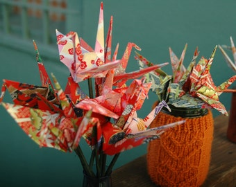 12 Origami Peace Cranes On Stems - Fancy Silkscreened Yuzen Paper - Colors Your Choice