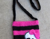 Hot pink Blue Black Monster High inspired Skeleton head Crochet Bag Purse with straps 100% Cotton material and felt
