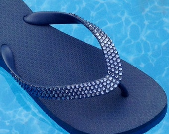 Crystal Flip Flops w/ Swarovski Blue Jean Navy Denim Marine Rhinestone Bling Mother of Bride Cariris Flat or 1.5 Wedge Heel Thong Shoes