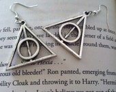 Antiqued Silver Deathly Hallows Earrings
