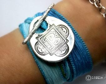 Personalized gift Monogram Silk Wrap Bracelet  Letter Bracelet silver silk wrap bracelet