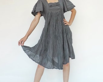 NO.9 Bluish Grey Cotton Bell Sleeves Tunic Dress, Day Dress