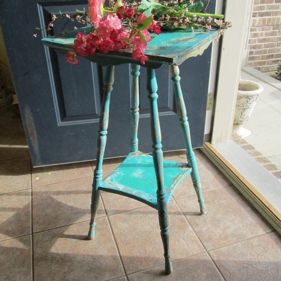 Antique Spindle End Table Aqua Hand Painted Distressed Side