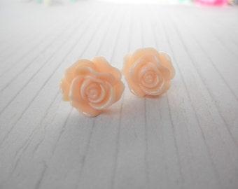 Light Peach Pastel Rose Post Stud Earrings