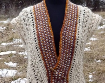 Berries & Lace Vest-Knitting Pattern for Hilltop Shetland Yarn