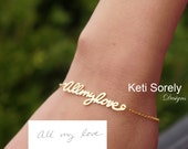 10k, 14K  or 18K Solid Gold 14K Gold Filled or Sterling Silver - Hand Written Name or Signature Bracelet - Yellow, Rose or White