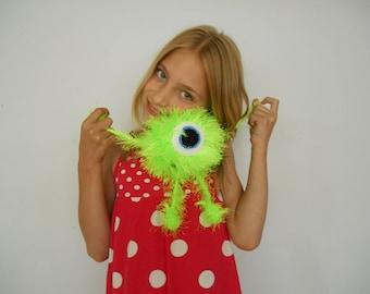 Handmade Monster Stuffed crochet toy Fluffy monster One eyed neon monster Fuzzy stuffie Crochet alien