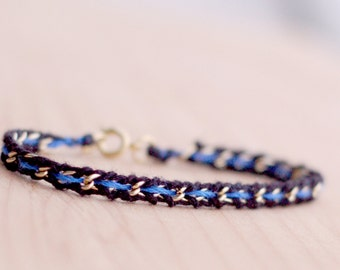 Thin blue line woven gold / silver chain bracelet, women law enforcement / police wife, black blue friendship bracelet, feminine delicate
