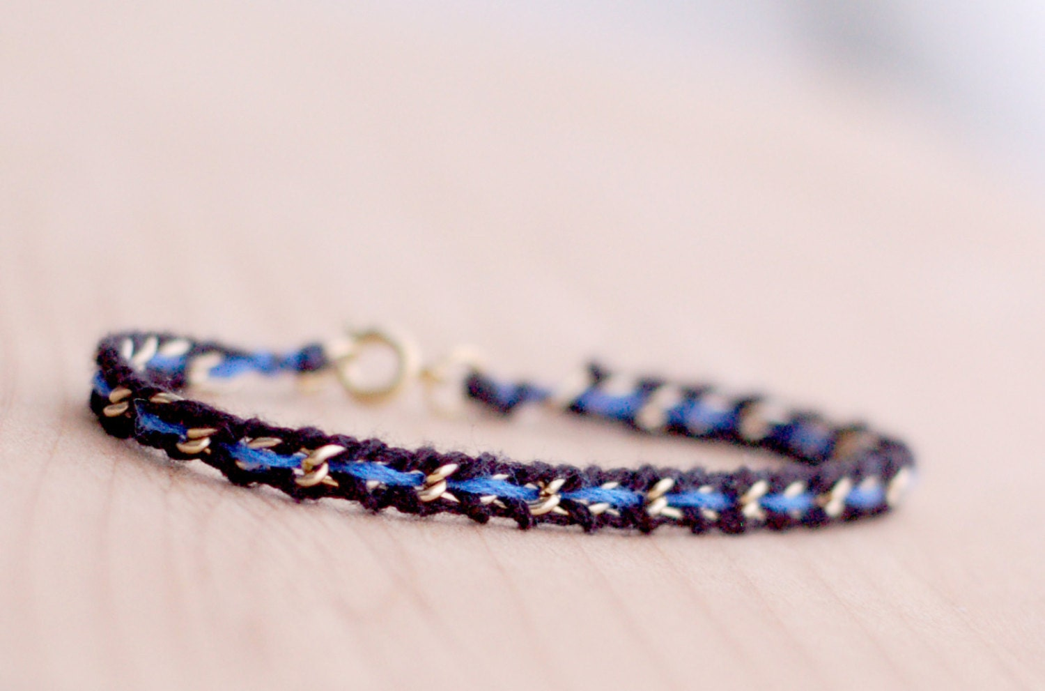 thin blue line woven gold silver chain bracelet women law. Black Bedroom Furniture Sets. Home Design Ideas