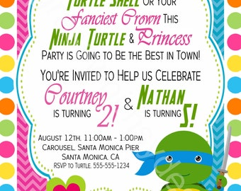 Princess, Ninja Turtle, Brother, Sister, Twins Birthday Party Invitation