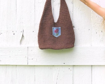 Boho chic Handbag - upcycled recycled repurposed handbag - Brown Jute purse with Denim Floral Pocket - recycled shabby chic womens clothing