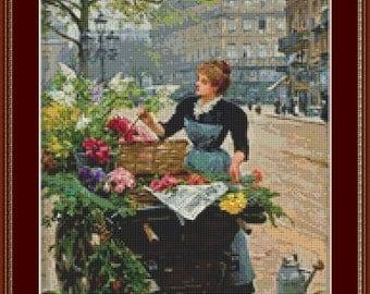 Flower Seller III Cross Stitch Pattern