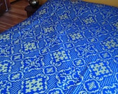 ON HOLD for Melissa:  Vintage Damask / Trellis / Bohemian Bed Spread in Vibrant Blue & Green