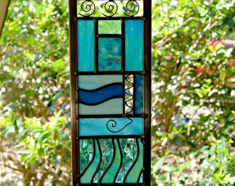 Stained Glass Water Element Stained Glass River Scene Nature Art Glass Panel Abstract Art Decorative Art Home Decor