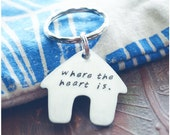 Valentine's Day Key Ring - New Home Keychain - Home is Where the Heart is - Hand Stamped House Warming Gift