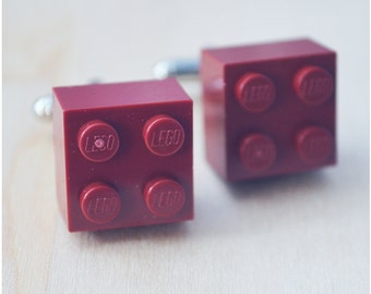 Maroon Cufflinks With Lego Bricks - Father's Day 2016 - Unique Wedding Cuff Links - Hipster Accessories