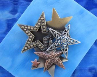 Stargazer Brooch- Star Pin- Sun Moon Star- Celestial Jewelry- Star Jewelry