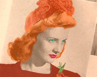 Vintage 1940 Closed Crown Calot Hat with Frills 960 PDF Digital Crochet Pattern