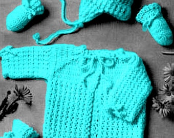 Almost FREE Vintage 1950s Baby Sweater Hat Booties Mittens 4 Piece Set B118 PDF Digital Crochet Pattern