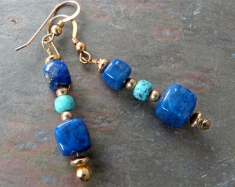 Natural Lapis Lazuli Earrings with Nacozari Turquoise & Gold, Blue, Handcrafted