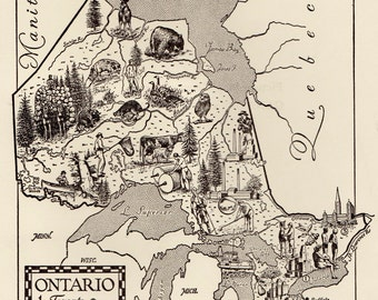 Whimsical ONTARIO CANADA Map of Ontario Canada Picture Map Gallery Wall Art Vintage 50s Picture Map  Plaindealing 5385