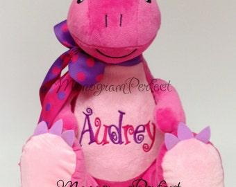 Personalized, Monogrammed Pink & Purple Dinosaur Plush Stuffed Animal, Soft Toy
