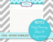 Turquoise Chevron Notes Planner, Notebook Journal Insert Stationery, Printable Notes, Planner Organization & Notes, Filofax Insert Notes