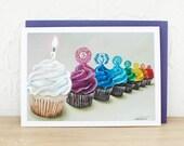 Chakra Cupcakes Fine Art Yoga Glitter Greeting Card