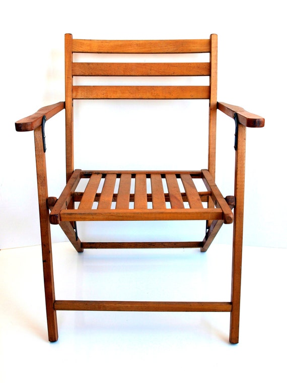 vintage wooden folding chair by thevintageshopkeeper on etsy