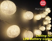 Battery Powered LED Bulbs 20 Big White Cotton Balls Fairy String Lights Party Patio Wedding Floor Hanging Gift Home Decor Bedroom 13 Feets