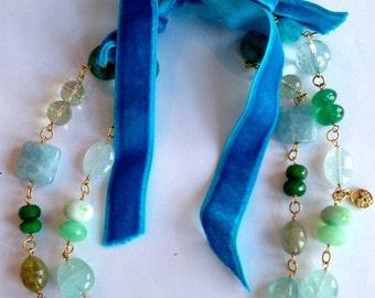 Multi-gemstone Statement Necklace Double Strand Aquamarine, Emerald,Green Onyx, Green Amethyst, Chrysoprase, Vermeil Turquoise Velvet Ribbon