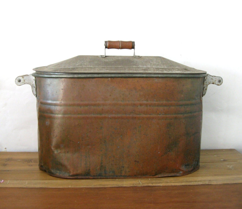 Antique copper boiler large copper wash tub copper bucket for Copper water boiler