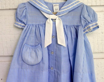 Vintage Baby Blue Gingham Check Sailor Dress- sizes 12 months - New, never worn