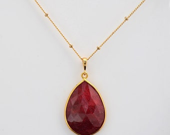 Ruby necklace, Large Gemstone necklace, July Birthstone necklace, ruby pendant, ruby jewelry, custom necklace, satellite chain necklace