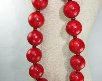 Chunky Coral and wood statement necklace, Coral necklace, Red statement jewelry, Antique brass and coral chunky necklace