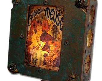 Art Nouveau Alphonse Mucha Night Light Industrial chic Bieres de la Muse