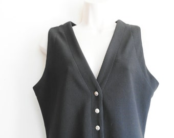 Vintage rock and roll black dress and silver buttons