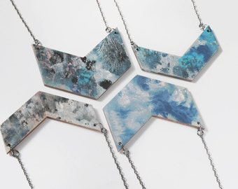 Paint splatter textural wooden chevron necklace - gunmetal chain
