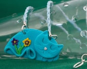 Blue cat Necklaces, one asleep one awake, sweet, cute  adorable kitties on leather and